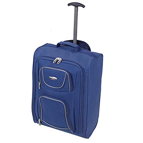 FlyGEAR Cabin Approved Lightweight Hand Luggage Travel Holdall Wheeled Suitcase Bag Fits Ryanair Easyjet And Many More - 1.4k - 40 Litres (Blue)