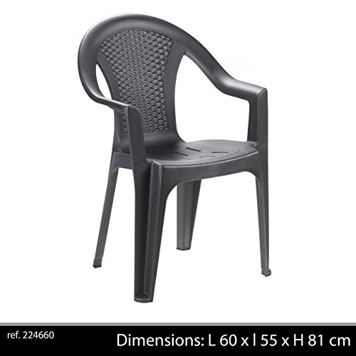 Ischia sedia monoblocco impilabile con schienale basso, effetto rattan, colore nero (antracite)