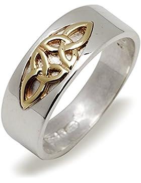 Keltische 7mm Silber und Gold Doppel Trinity Knot Band ring.