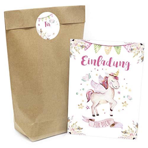 Praktisches Kindergeburtstag Set mit 16 Geschenktüten (Party-Tüten), Einladungskarten und...
