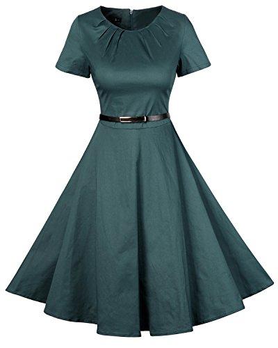 MISSMAO 50s Damen Vintage Schwingen Kleider Rockabilly Pinup Ballkleid Partei Kleid A-Linie Baumwolle Grün