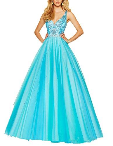 Bridal_Mall - Robe de mariage - Trapèze - Sans Manche - Femme Bleu ciel