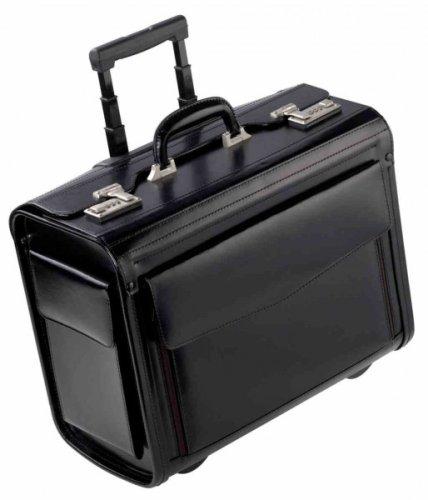 Dermata Platyhelmintes Valise de pilote en cuir avec roulettes et manche télescopique
