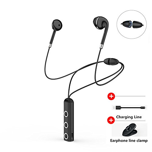 Bluetooth Kopfhörer Wireless In-Ear, Wireless Kopfhörer Stereo Noise Cancelling Kopfhörer Wireless Sport Schweiß-Headset mit Mikrofon für iPhone X/8/7/6Plus Samsung Galaxy S7S8S9und Android iOS Handys, Schwarz