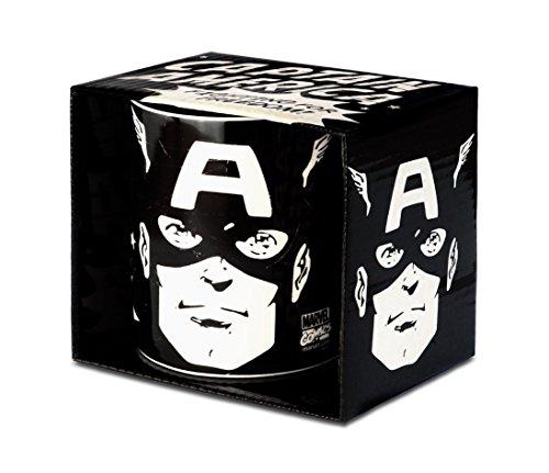 Marvel Comics - Captain America Portrait Porzellan Tasse - Kaffeebecher - schwarz - Lizenziertes Originaldesign - LOGOSHIRT