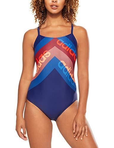 adidas Damen Athly Light Graphic Badeanzug, Dark Blue/Hi-Res Orange, 38