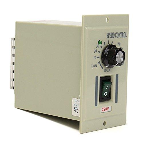 Motor Speed Controller AC 220V 50Hz Drehknopf Motor Speed Variable Control Controller für DC 0–500W Motor, grau
