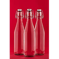 6 x 250 ml Glass Bottles with Swing Tops 0.25 Litre L / 25cl, Home Brew & Wine Making - Classic Style Clear Glass Swing Top Bottles - Pack of 6 by slkfactory