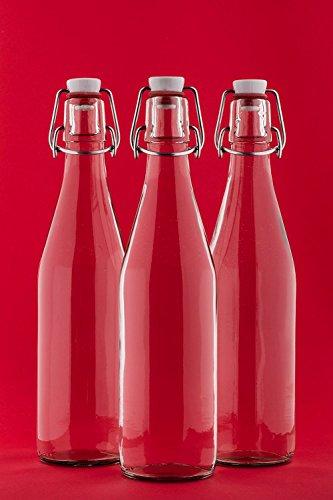 slkfactory 6Bouteilles avec Bouchon en Verre vides 500ML Bouteilles 0,5L L 50cl Bouteille de Liqueur Bouteilles Flacon à Liqueur jus vinaigre Huile de Bouteille de