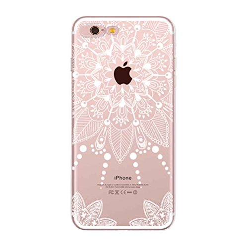 iPhone 7 Hülle mit Panzerglas, Bestsky iPhone 8 Hülle Transparent Silikon Weiß Henna Mandala Muster Cover Case Durchsichtig Handy Tasche Schutzhülle für Apple iPhone 7/8 (4.7 Zoll) #09