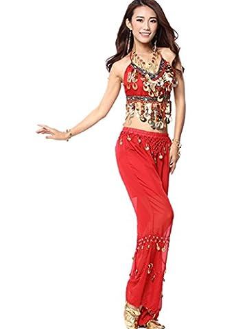 Danse Outfits Dansewear Danse du ventre Costume Set Tribal Danse indienne Sequins Backless Top&Coins pantalons red