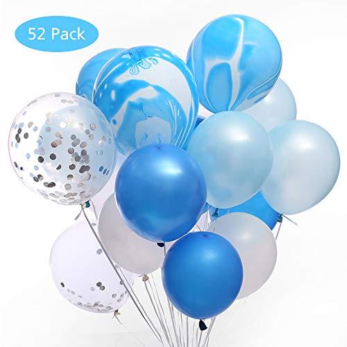 Effe 52 pezzi palloncini in lattice palloncini coriandoli set di bianchi e blu palloncini matrimonio palloncini compleanno decorazioni per feste, baby shower festa di natale, cerimonia