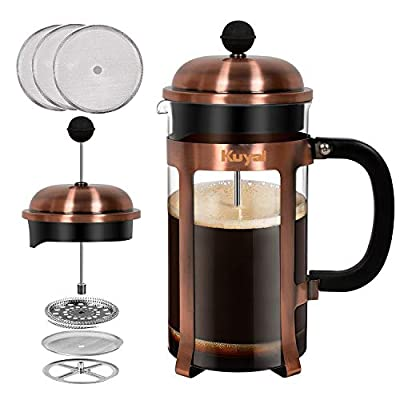 Kuyal Cafetière, French Press Coffee Maker for Travel Home Office, Stainless Steel Coffee Pot with Extra 3 Piece Replacement Filter Screen, 1 L/ 34 oz / 8 Cup