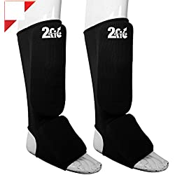 2Fit - Protector de pies, empeine y pierna con almohadillas de entrenamiento de boxeo, artes marciales mixtas y Muaythai, varias tallas, color negro, tamaño small