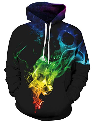 Rave on Friday Unisexo Hoodies Impreso Calavera Negra Cool...