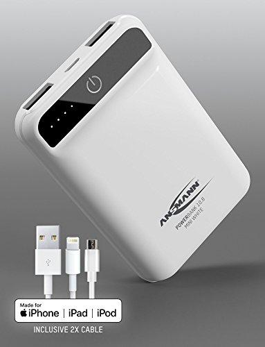 ANSMANN Mini Powerbank TÜV geprüft 10000 mAh & 2A Ausgang MFi - Kleine Power Bank mit 2 USB Ports & LED Statusanzeige - Ladegerät für Handy Smartphone Tablet Apple iPhone iPad uvm - Externer Akku Mini-usb-port
