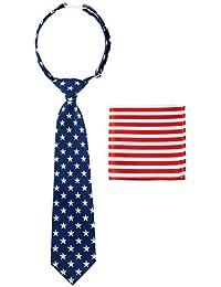 canacana bandera de Estados Unidos OLD GLORY PRE-TIED Boy de corbata, diseño de rayas bolsillo cuadrado Set