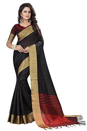 Ecolors Fab Women`s cotton Silk saree with blouse piece (Black)