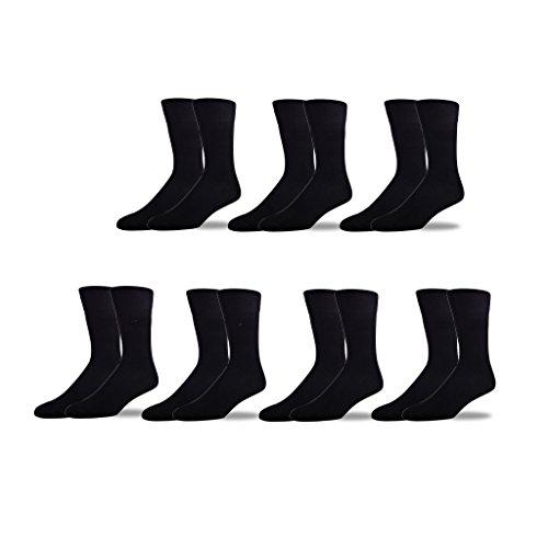 Image of STÓR Men's Staple Pack 7x Bamboo Fabric Socks: Antifungal, Antibacterial, Extra Soft Socks (Large (43-46EU / 9-12UK), Plain Black)