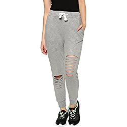 American-Elm Women Grey Melange Regular Fit Ripped Jogger | Track Pant (Medium)