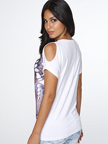 Kim Kara Damen Shirt Rundhals Cut-Outs Schmetterling-Druck Weiß/Multi