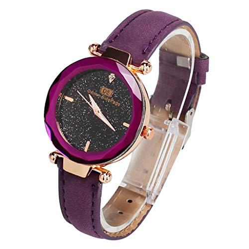 ea9711617fb3 Yivise Mujer Moda Simple Mini Reloj Banda de Cuero Cuarzo Analógico  Indicador de Dial de Dial Redondo Presente Cómodo Reloj de Pulsera