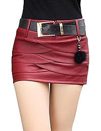 Falda Corta para Mujeres Moda A-lìnea Adelgazar Skirt de Cuero Sexy Cintura  Alta Color Sólido c906f70d3404