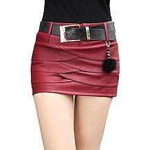 Falda Corta para Mujeres Moda A-lìnea Adelgazar Skirt de Cuero Sexy Cintura  Alta Color Sólido 9d4e946498c4
