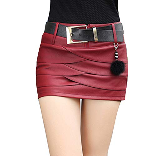 Falda Corta para Mujeres Moda A-lìnea Adelgazar Skirt de Cuero Sexy Cintura Alta Color Sólido Casual Mini Falda para Fiesta Club