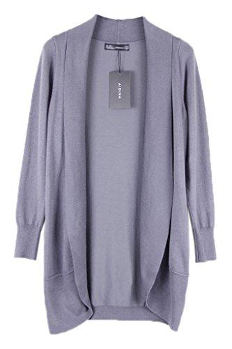 Smile YKK Sarrau Uni Manteau Trocots Cardigan Coton Manches Longue de Soleil Femme Gris