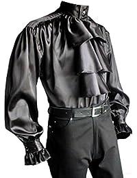 Chemise froncée à jabot en satin - noire