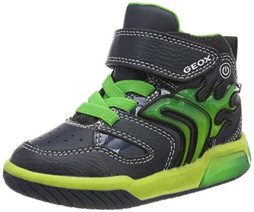 Geox Jungen J INEK Boy C Hohe Sneaker, Blau (Navy/Lime C0749), 27 EU
