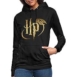 Harry Potter Logo Le Vif d'or Sweat à Capuche Femme, S (36), Noir