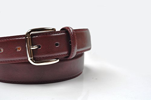 Ossi Ceinture pour garçon Style classique 30mm Double couture Double couture Doublure en cuir 50,8cm–Tour de taille 101,6cm (6couleurs) Rouge - Marron