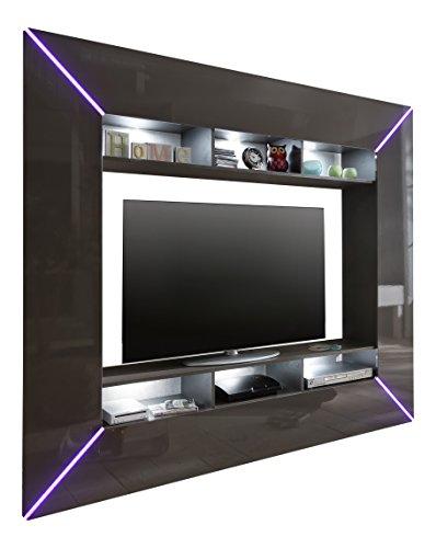 TV Wohnwand - grau Hochglanz, BxHxT 201x180x35 cm