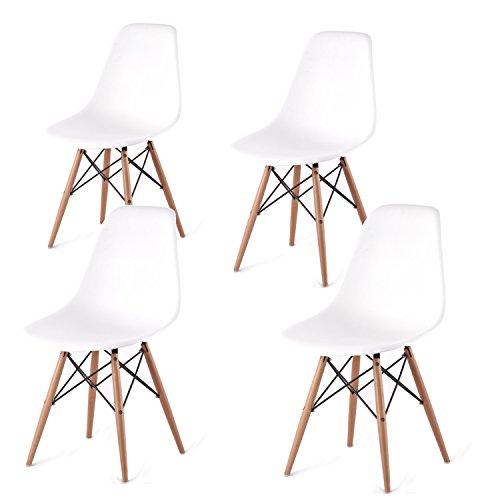 Set 4 sedie replica DSW in polipropilene bianco e gambe in legno di faggio, solidità testata CATAS