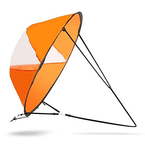Dilwe Kajak Windsegel, 42 Zoll Faltbares Windsegel Kit für Windfalten mit Aufbewahrungstasche für Segelbootkanu(Orange)