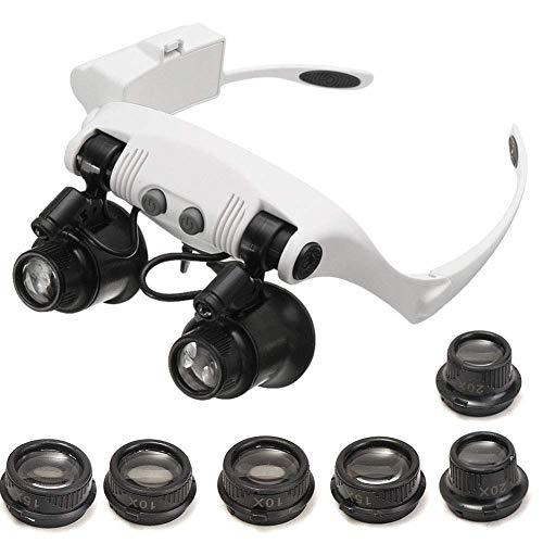 ea069e2274 BNMYSY Lupa Luz LED Gafas Joyero Para Leer Lectura Reparación Portátil  Reparación De Relojes Aumento de
