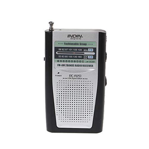 Freshsell Tragbares Mini-Radio, 2-Band, AM/FM World Receiver, DC 3 V, Teleskopantenne BC-R20 (Baldachin Wagen)
