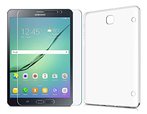 Domxteck (2 in 1 Pack Transparente TPU-Schutzhülle aus Silikon + 9H Bildschirmschutzfolie für Samsung Galaxy Tab S2 8.0