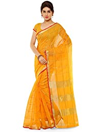 Kvsfab Women's Cotton Silk Saree,Yellow