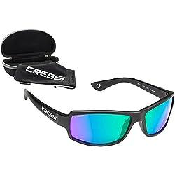 Cressi XDB100011 Gafas de Sol, Unisex Adulto, Negro/Lentes Espejados Verde, Talla Única