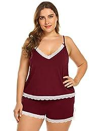 417909770c29a1 Meaneor_Fashion_Origin Damen Schlafanzüge große Größen Nachtwäsche kurz  Sleepwear mit Spitze ...