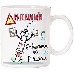 """Taza """" Precaución Enfermera en Prácticas """". Taza regalo divertida para enfermeras"""