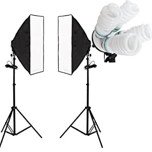 8 x Lamps Daylight Continuous Lighting Softbox Soft Box Kit Four Head UK Plug 50 x 70 cm Studio Photography