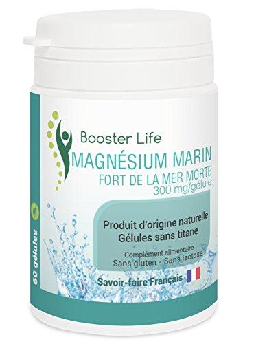 Magnésium Marin Fort de la Mer Morte • 60 Gélules de 300 mg sans titane sans gluten sans lactose sans OGM • 2 mois de cure Ultra-économique • Tonus & Anti-stress • Fabriqué en France