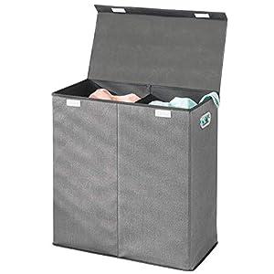 mDesign Wäschetruhe aus atmungsaktivem Polypropylen mit 2 Fächern - Design Wäschekorb für Waschküche, Bad oder Schlafzimmer - faltbare Wäschetonne mit Deckel und Griff - grau mit schwarzer Zierleiste