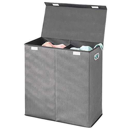 mDesign Wäschetruhe aus atmungsaktivem Polypropylen mit 2 Fächern – Design Wäschekorb für Waschküche, Bad oder Schlafzimmer – faltbare Wäschetonne mit Deckel und Griff – grau mit schwarzer Zierleiste