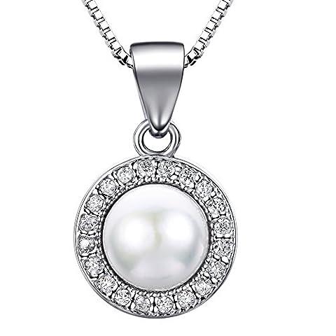 J.SHINE Perlen Kette Damen 925 Sterling Silber Halskette Anhänger Set 3A 6mm Natürliche Süßwasser Perle mit Etui Italien 45cm Kastenkette Geschenk