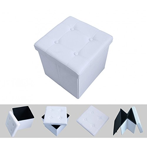 Todeco - Almacenamiento Banco, Almacenamiento Otomano Plegable de Cuero - Carga máxima: 150 kg - Material: Imitación de cuero - Acabado cosido y copetudo, 38 x 38 x 38 cm, Blanco